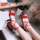 Plus Size Sandals Womens Block Mid-heels Open Toe Cross Ankle Strap Casual Shoes