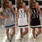 "Plus Size Women ""LOVE"" Printed Shirt Dress Casual Pencil Dress Long Tops Shirts"