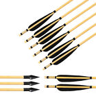 "31"" Archery Outdoor Hunting Wood Arrows Turkey Fletching Feather with Broadheads"