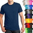 Mens Basic T Shirts Solid CREW NECK Soft Cotton Tee Plain Casual Lounge image