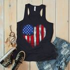 Women's American Flag Heart Flowy Tank Patriotic 4th July America Grunge Tanks