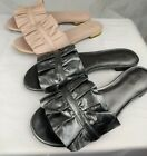MIchael Kors Bella Leather Ruffle Slide Sandal Metalic Silver & Soft Pink