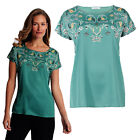 Marks & Spencer Womens Printed Satin Short Sleeve Round Neck New M&S T-Shirt Top