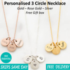 Personalised Engraved Women Jewellery 3 Circle Necklace Rose Gold Silver Giftbox