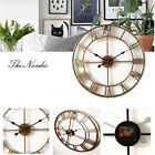 Decor Vintage 3D Roman Numerals Wall Clocks Round Wrought Iron Large Watch Home