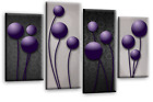 """LARGE FLORAL ABSTRACT ART PICTURE BLUE RED TEAL GREY CIRCLES CANVAS 4 PANELS 40"""""""
