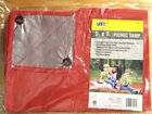 5 x 7 ft Camping Tarp Waterproof Picnic Mat Ground Cover Tent, Blue or Red