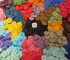 "Hand Dyed 5/8"" Square BUTTONS, 2 Holes, Assorted Colors, Lots of 20 or Mixed 40"