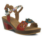 New In Box L'Artiste Women's PINKIE-RDM Red Multi Leather Ankle Strap Sandals