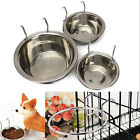Stainless Steel Cage Coop Cup Bird Cat Dog Puppy Food Water Bowl w. Hanger Hook