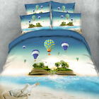 3D Blue Sky Hot Air Balloon Bedding Sheet Blankets Duvet Cover Adult Bed Sheet