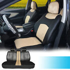 Black/Tan Synthetic Leather Full Car Seat Cushion Covers Front Rear 59255 $59.95 USD on eBay