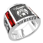 Men's Shriner 0.925 Sterling Silver Simulated Ruby Freemason Masonic Ring
