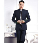 Mens Slim Fit Single-breasted Business Stand Collar Dress Coat Pants Suits 2pcs