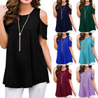 UK Womens Cold Shoulder T-shirt Summer Ladies Loose Blouse Tops Plus Size 6-20