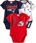 New England Patriots NFL Infant/Baby Boys' 3-Pack Bodysuits/Creepers: 0/3-12m