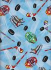 Hockey Fabric 100% Cotton Blue Timeless Treasures BTY BTHY