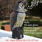 Large Realistic Owl Decoy Rotating Head Repellent Pest Control Crow Scarecrow SR
