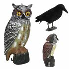 2 Size Garden Realistic Owl Decoy Rotating Head Weed Pest Control Crow Scarecrow
