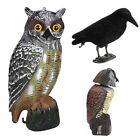 Garden Lawn Realistic Owl Decoy Rotating Head Weed Pest Control Crow Scarecrow