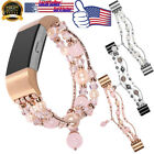 Fitbit Charge 2 Bling Peals Agate Beaded Elastic Stretch Strap Replacement Band image