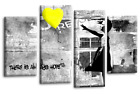 """BANKSY WALL ART PICTURE YELLOW GREY GIRL WITH BALLOON CANVAS 4 PANEL 44 x 27"""""""
