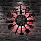 Kitchen Cutlery Wall Clock Spoon Fork Knife Vinyl Record Wall Clock Chef Gift