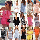 Womens Holiday Mini Playsuit Ladies Jumpsuit Romper Summer Beach Dress Size 6-18