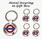 UNDERGROUND STATION ROUND METAL KEYRING IN BLACK GIFT BOX