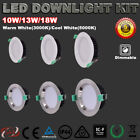 RECESSED 10W/13W/18W LED DOWNLIGHT KIT DIMMABLE WARM/COOL WHITE 5 YRS WARRANTY