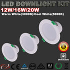 RECESSED LED DOWNLIGHTS KIT DIMMABLE 12W/16W/20W WARM/COOL WHITE 5 YRS WARRANTY