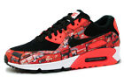 Nike AIR MAX 90 PRINT AQ0926-001 'WE LOVE NIKE' BLACK/BRIGHT CRIMSON sz 4-13