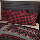 (2) Cumberland Red Black Plaid 100% Cotton Pillow Cases 2 Sizes image