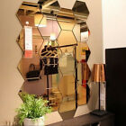 12Pcs 3D Mirror Hexagon Vinyl Removable Wall Sticker Decal Home Decor Art DIY HI