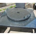 Round Rattan Lazy Susan Outdoor Garden Furniture In Black Or Grey Glass Top