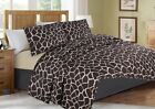 #4  ANIMAL BROWN BEIGE GIRAFFE QUILT SET BED COVER BEDDING QUILTED BEDSPREAD image
