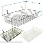 Case of 6   Grid Gridwall Baskets 24 x 12 x 4   BLACK WHITE or CHROME