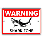 Warning Shark Zone Safety Precaution Ocean Sea Tourist Alert Aluminum Metal Sign