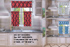 MORROCAN SILKY HALF WINDOW SMALL CURTAIN PRINTED LINED BLACKOUT KITCHEN 3PC SET