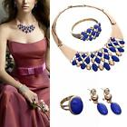 Beads Jewelry Set Gold Plated Blue Rhinestone Necklace Earrings Jewelry Sets TR