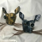 Leather art Steampunk bunny rabbit mask w/horse hair whiskers