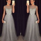 US Sleeveless Women Formal Wedding Bridesmaid Long Evening Party Ball Prom Dress