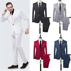 Men Slim Fit Business One Button Formal Two-Piece Suit Jacket Pants Wedding Eage