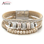 Fashion Women Bohemia Multilayer Leather Ceramic Rhinestone Beads Charm Bracelet image