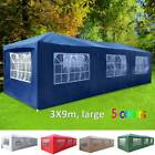 3x9m Large 9 Sides Waterproof Garden Gazebo Outdoor Marquee Canopy Pe Party Tent