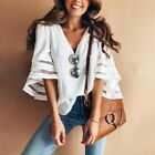 Summer Fashion V Neck Women Casual Sexy Loose Half Sleeve Lace Blouse Tops Shirt