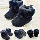 US Infant Baby Girl Cotton Knitted Fleece Snow Boots Warm Fur Soft Crib Shoes