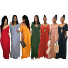 Women Summer Solid Color Casual Vacation Club Party Loose Pocket Long Dress