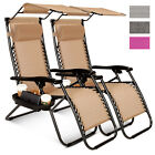 2 Pcs Zero Gravity Folding Sitting-room Beach Chairs W/Canopy Magazine Cup Holder