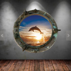Porthole Wall Decal Dolphin Sunset Sea Wall Sticker Kids Bedroom Murals Wsd574